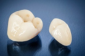 Dental crown restorations prior to placement