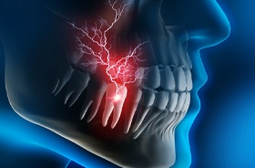 Digital image of a tooth and pain occurring in the inner layer, the pulp