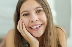 Teen girl with metal braces